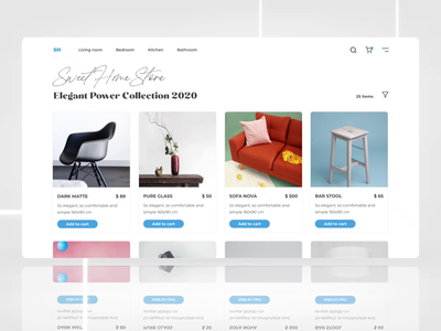 Sweet Home Store aftereffects unsplash slider navbar navigation furniture store furniture store card cards ui web app icon typography ux vector figma branding ui design