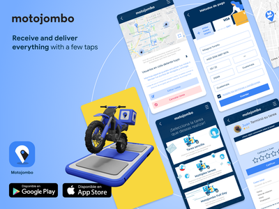 Motojombo App | Corporate delivery courier 3d art 3d modeling app user experience ux product design ui user interface