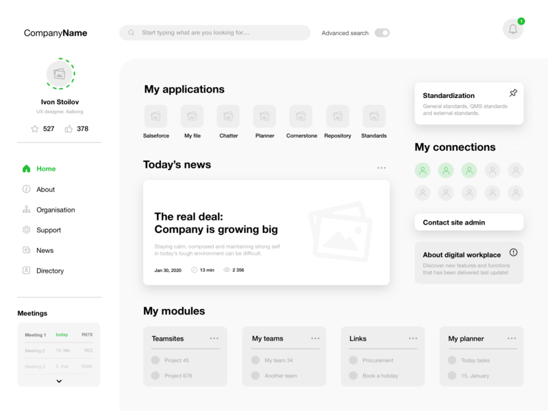 Intranet - wireframe design