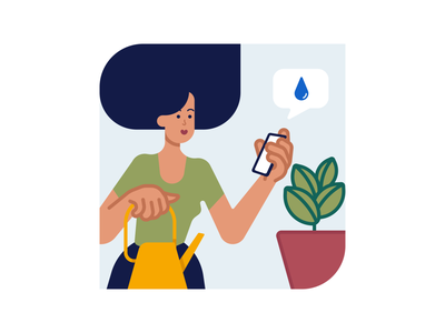 Illustration for plants watering app vector people minimalistic flat illustration