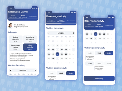 Dentist appointment reservation app concept dentists design dentistry appointment appointment booking appointments medical medic dentist ux mobile app flat ui