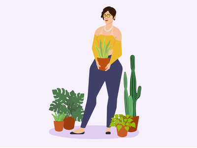 Plant lady illustration illustration art flatdesign flat vector girl woman illustration plant illustration plant lady plants plant