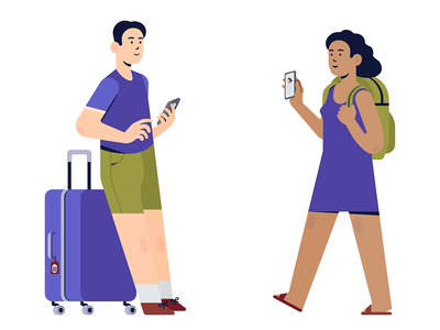 Travellers illustration flat design illustration vectorart flat illustration flatdesign flat people human traveller travel