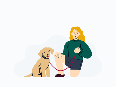 Woman and dog flat illustration dog illustration illustration dog sitting dog people human woman minimalistic minimal flat illustration flat
