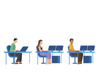 Illustration - people using computers office working work programmers it computer people minimalistic flat illustration