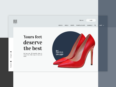 Shoe shop web design www ui shop ecommerce webpage webdesign