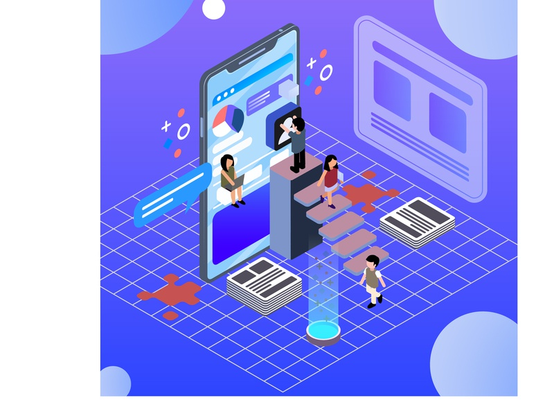 isometric-infographic-with-charts-people 3d message info graphic tecnology social networking laptop chat bot ux ui vector illustration