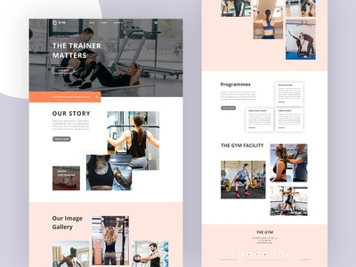 Gym - Landing page ux ui typography trendy design 2019 minimal gym website gym landing page gym center fitness website exercise clean body fitness website body builder website