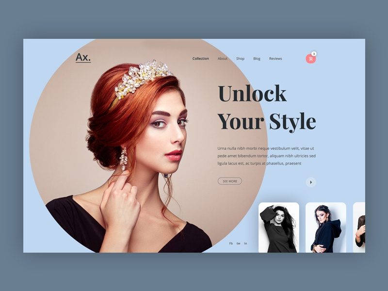 Ax. - Fashion Web UI web design typography theme product landing page product design online shopping model marketing agency marketing landind page industrial store shop homepage hiwow ecommerce colourful design clothing store header fashion