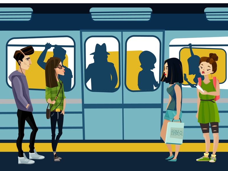 NYC subway usa train texture subway phone nyc landscape illustration flat city character