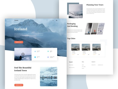 Travel Landing Page website webdesign vacation ux ui typography trending travelblog travel template minimal layout landing page flight destination color clean booking form booking