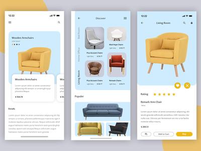 Furniture App Exploration ux ui typogaphy store product minimal layout interface fashion ecommerce design creative chairs app