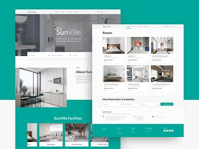 SunVille - Hotel UI UX Website Design uidesign website web-design webdesign web ux ui landing hotel design clean booking book hotel