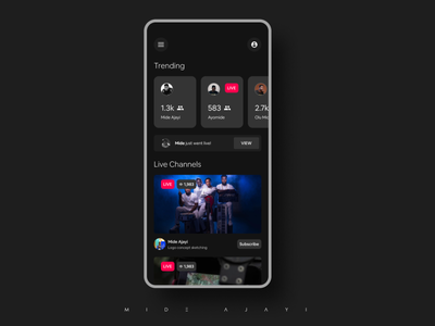 Streaming App viral videos video trending streaming app stream screen one new mobileux mobileuiux mobileui mobile design mobile app minimal live app