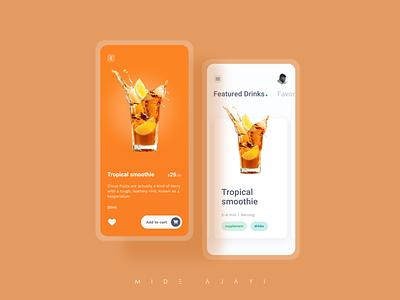 Juice App minimal fruity fruit app fruit juice box mix drink food juice app juice mobile ui ux ui design figma mobile design mobile app