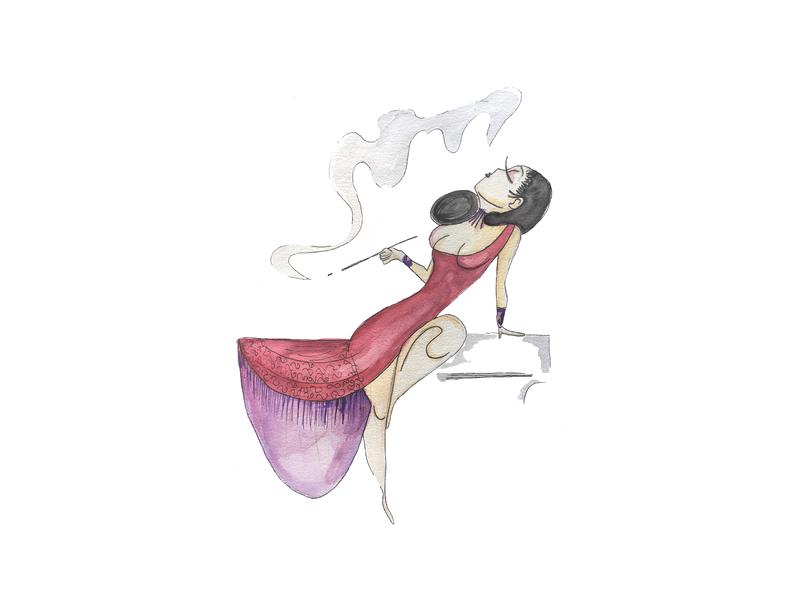 Lady print art watercolor illustration