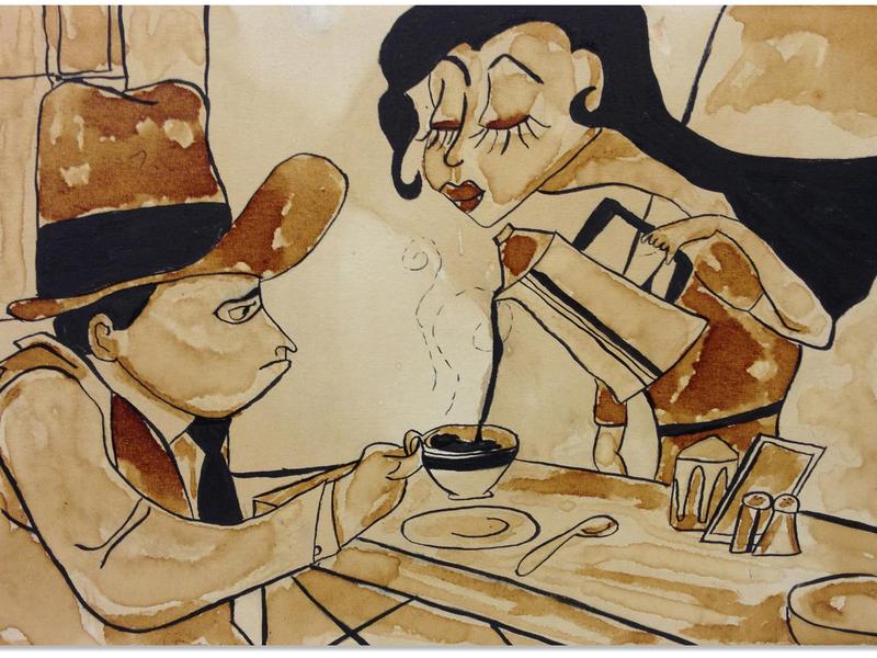 Fantasia fantasia ink canvas tea coffee art illustration
