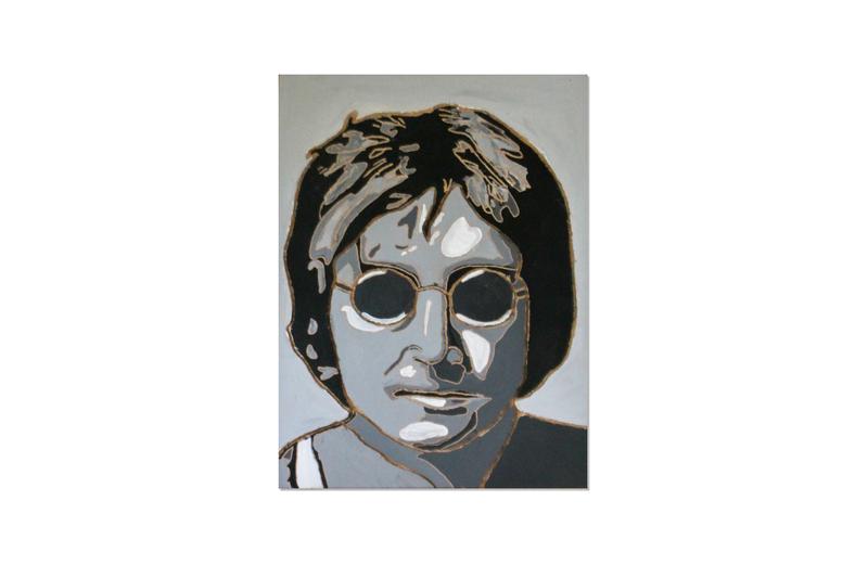 John Lennon pop art illustration pop art acrylic wood carving