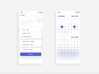 Plane booking app • startup screen and calendar