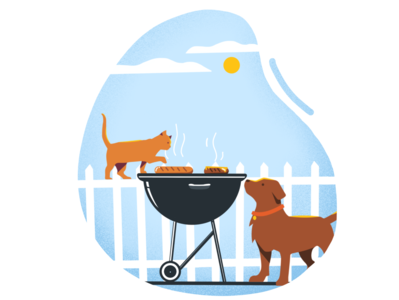 Teamwork holiday burgers grill labor day dribbble drawing nature environment cat graphic illustration art vector illustration flat graphicdesign design