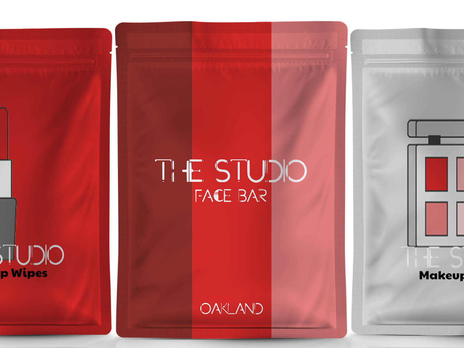 The Studio Face Bar Pouches bright colors package mockup graphic design branding red packaging package design