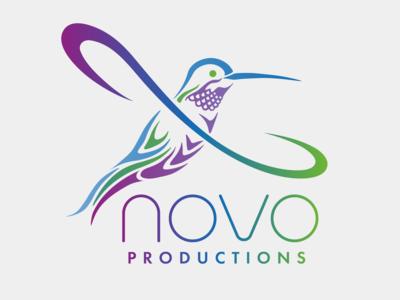 Full-color hummingbird logo for Novo Productions