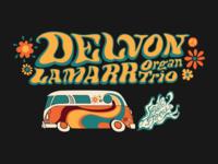 T-shirt graphic for Delvon Lamarr Organ Trio tour