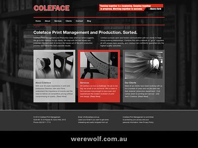 Coleface Print – WordPress Website Design. wordpress webdesign typography retouching project management photoshop photography javascript illustrator html5 graphic design css3 concepts branding art direction