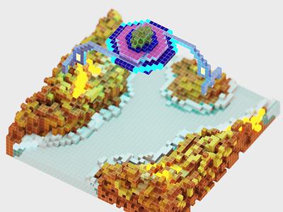 Alien Ship orthogonal render with grid digitalart render rendered illustration art 3dart magicavoxel voxelart pixelart illustration