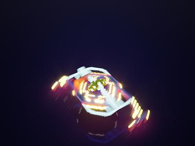 Alien Ship motion render illustration art 3d artist 3d art render rendered magicavoxe motiongraphic pixelart voxelar