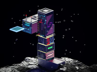 Futuristic Tower voxelart art renderer rendered render digital 3d 3d artist 3d art futuristic future cyberpunk magicavoxel voxel digitalart illustration