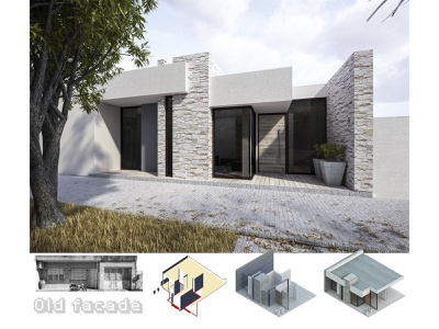 Remodeling project for facade in country house. artist artwork town rendering render perspective illustration cityscape axonometric architecture design architecture visualization architectural architect 3dsmax 3d artist art 3d