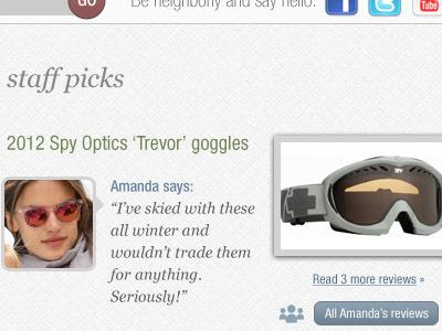 Retailer website reviews staff goggles
