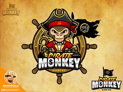 Pirate Monkey Gaming illustration fortnite cod pubg character vector pirate monkey mascot logo cartoon streamer twitch esports rockdoodle