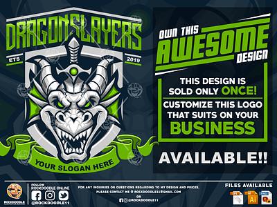 Dragonslayer ownthisdesign mascotdesign illustration character dragon design mascot logo cartoon vector rockdoodle