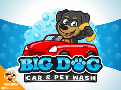 Big Dog Car & Pet Wash illustration wash dog pet car design mascot character logo cartoon vector rockdoodle