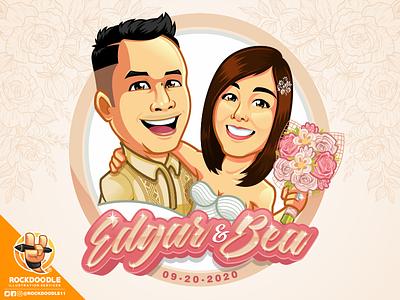 Kasal cartoonlogo wedding illustration caricature design mascot character logo cartoon vector rockdoodle