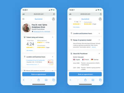 Doctor Profile for Health-Tech startup mobile view booking profile doctor health tech healthcare health concept ui simple minimal clean