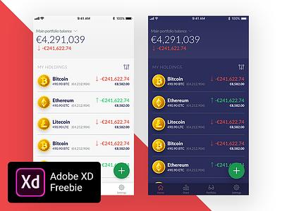Bitcoin and Cryptocurrency Wallet - Fin-tech Adobe XD Freebie light theme freebie fin-tech finance download dark cryptocurrency bitcoin adobe xd