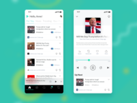 Podio Home Screen and Player Screen Design