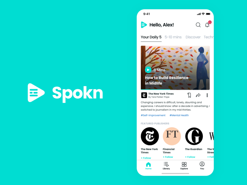 Spokn Home Page branding player navigation slick design ux ui simple product design music mobile mint minimal explore home landing concept clean audio app
