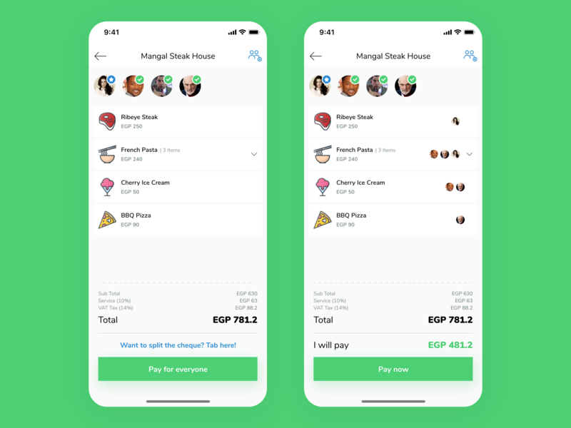 Split bill payment experience ux receipt payment method share friends processing bill payment design concept app ui simple minimal clean