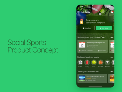 Social Sports Events App Concept Design