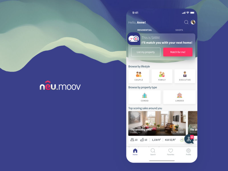 NeuMoov AI Driven PropTech / Real Estate App Home Page Design navigation home app ui simple minimal tabs ai card concept explore list matchmaking real estate property home screen
