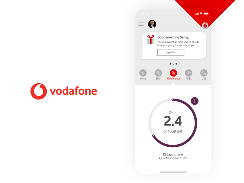 My Vodafone App Home Screen Experiment Wireframe Design vodafone personalisation message tabs landing usage dial consumption simple concept app home screen experiment