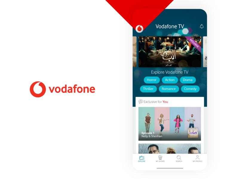 Vodafone TV Online Video Streaming App Concept Design minimal clean tv app carousel tags tabs series movie film explore design app concept content stream steaming video tv vodafone