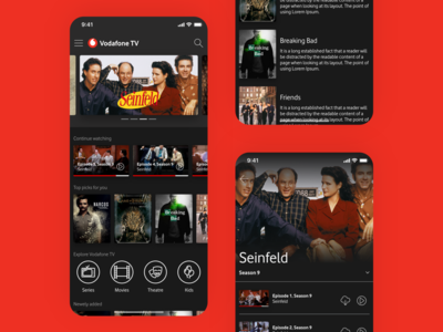 Vodafone TV Online Video Streaming App Concept Design 2nd Round concept ui minimal clean play download details search navigation structure content design explore movie film streaming tv app content online tv vodaofne