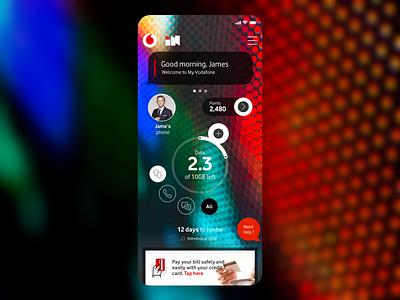 Vodafone IN Home Screen design app ux simple clean megabytes concept home gadget teleco telecom vodafone usage dial consumption