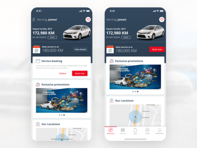 My Toyota App Experience Design (Car Service & Maintenance) promotions offers navigation location home concept app ui simple minimal clean dashboard ui maintenance service dashboard toyota car
