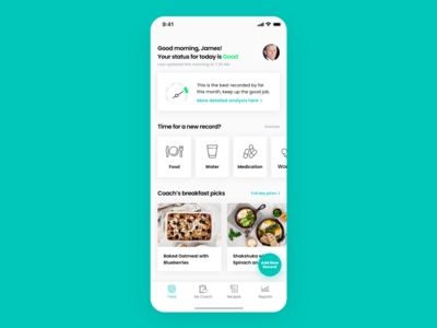 Gut & Health Tracking and Nutrition App, Home Screen Design simple minimal clean nutritionist feed dashboard home concept app design tracking app health care healthy report health app healthcare gut nutrition tracking health-tech health
